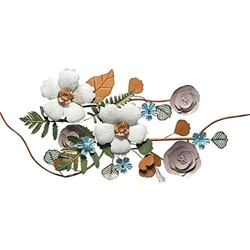 ZHICHUAN Escultura Flor Ilustraciones Pared Del Metal Decoración de la Pared de Patio Porche Habitación Sala Arte de la Pared Que Cuelga 51.1X23.6 Pulgadas Listo para Colgar regalo