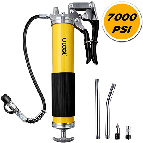 UTOOL Grease Gun, 7000 PSI Heavy Duty Pistol Grip Grease Gun Set with 14 oz Load, 18 Inch Spring Flex Hose, 2 Working Coupler, 2 Extension Rigid Pipe and 1 Sharp Type Nozzle Included, Yellow … …