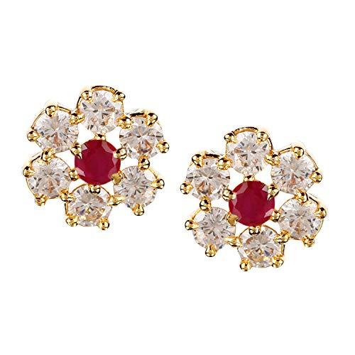 Swasti Jewels Gold Plated CZ Zircon Stud Earrings for Girls