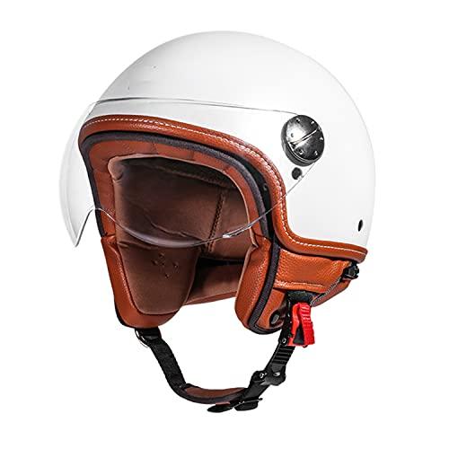 Casco de Motocicleta Vintage Cascos Moto Half-Helmet, Ultraligero Alta Dureza Adulto Unisex Casco Scooter Casco Jet par Mujer Hombre Adultos DOT/ECE Certificado K,L