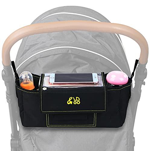&GO Kinderwagen Organizer mit durchsichtiger Smartphone Tasche - Buggy Organizer inkl. Schultergurt, Getränkehalter, Regenschutz & Wickelunterlagen
