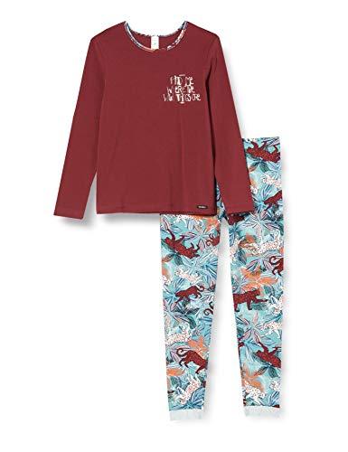 Skiny Mädchen Girls Pyjama lang Pyjamaset, Dark red, 176