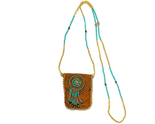Handmade Authentic Leather Suede Seed Bead Fringe Dangle Medicine Pouch Coin Purse Bag Beaded Necklace (Tan/Turquoise/Gold)
