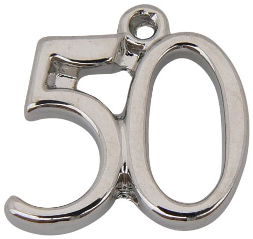 Charms and Occasions Ltd - Colgante con el número 50, chapado en plata