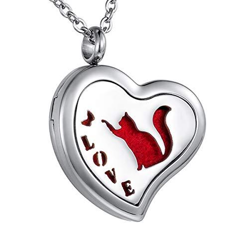 HOUSWEETY Collier Pendentif Coeur Diffuseur de Parfum ou d'Huiles Essentielles Love Chat + Gravure Personnalisee Offre