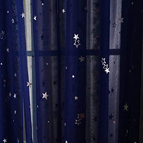 Rideaux en tissu pour enfants brillants pour le salon Kids Garçon Fille Chambre Bleu / Rose Blackout Cortinas Custom Made Drapé wp123-45, Couleur 5 Tulle, 1PC W400 x H260cm, Haut à œillets (Anneau)