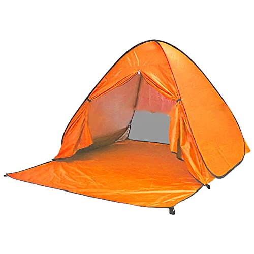 ANUFER Protección UV Surgir Carpa de Playa Portátil Plegable Configuración Rápida Refugio Solar Cubrir con Puerta con Cremallera SD5A050 Naranja
