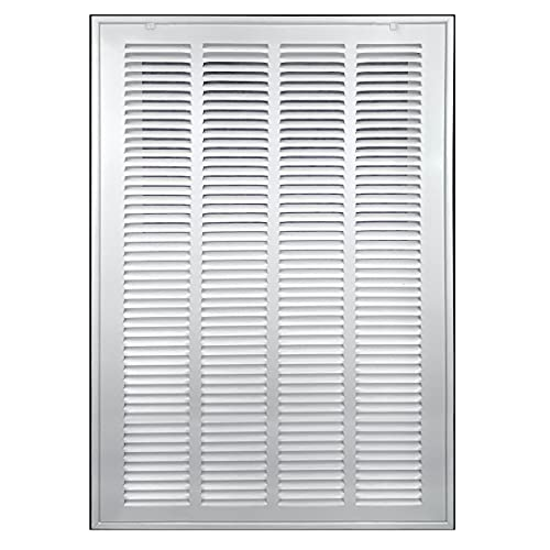 20' X 25' Steel Return Air Filter Grille [Removable Face/Door] for 1-inch Filters HVAC Duct Cover Grill, White   Outer Dimensions: 22 5/8'W X 27 5/8'H for 20x25 Duct Opening