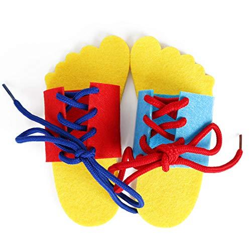 Aprender a atar zapatos de tablero educativo, Kindergarten enseñanza manual DIY tejido bebé aprendizaje temprano juguetes educativos ayuda enseñanza matemáticas juguetes para niños niños