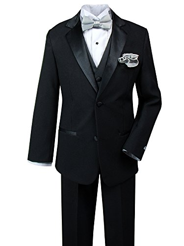 Spring Notion Baby Boys' Tuxedo Set with Bow Tie and Handkerchief Large Black-Silver