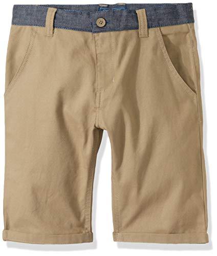 Cherokee School Uniforms Boys' Little Modern Fit Short with Chambray Waistband, Khaki, 4