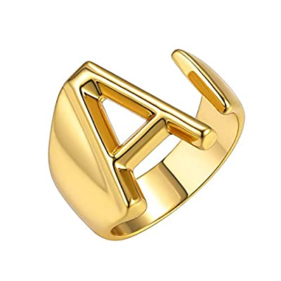 GoldChic Jewelry Personalized Gold Initial Letter Open Ring Adjustable Women Statement Rings Party Women's Signet Ring 18K Gold Plated Open Alphabet Rings Letter A to Z