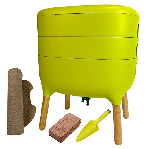 WormBox Urbalive Verde, Kit Completo I Diseño de vermicompostador I Sustrato de iniciación I Tapete + Pala de cáñamo I Interior, balcón y jardín