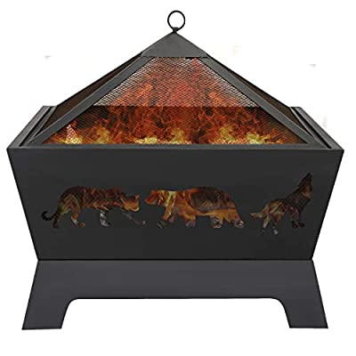 LEMY 26 Inch Outdoor Metal Stove Fire Pit - Backyard Patio Capming Wood Burning Fireplace, Geometric Shaped Steel Fire Pit w/Extra Deep Pit&Cover