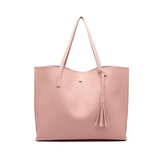 Miss Lulu Bolsos de moda para mujer Cuero PU Asa superior Bolsa de asas Hombro Satchel Bag (Rosa)