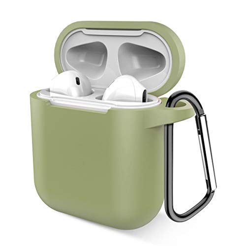 Airpods Case, Music tracker Protective Thicken Airpods Cover Soft Silicone Chargeable Headphone Case with Anti-Lost Carabiner for Apple Airpods 1&2 Charging Case (Greyish Green)