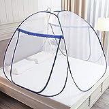 Mosquiteras desplegables para camas dobles, cremalleras de doble puerta mosquiteras portátiles para...