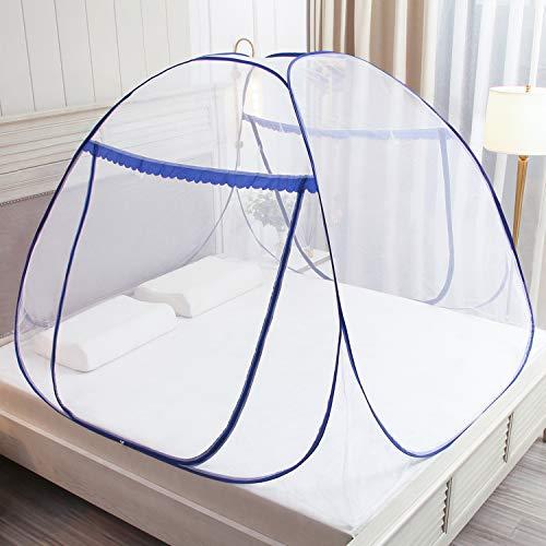 Pop Up Moskitonetz für Doppelbett, Large Portable Zelt Travel Doppeltür Reißverschluss Bettnetz, einfache Installation, feinmaschig, für Schlafzimmer Outdoor Camping, keine Haken, keine Chemikalien