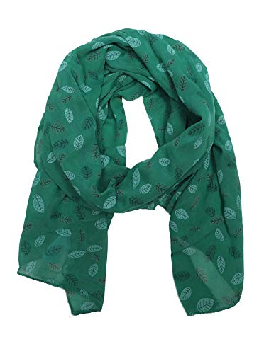 Zwillingsherz Seiden-Tuch Damen mit Blätter Muster - Made in Italy - Eleganter Sommer-Schal für Frauen - Hochwertiges Seidentuch/Seidenschal - Halstuch und Chiffon-Stola Dezent Stilvoll grün