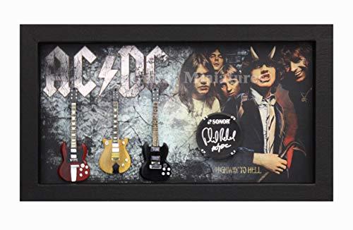 RGM9001 Angus Young ACDC Coleccion de Guitarra en Miniatura en Marco de Caja de Sombra