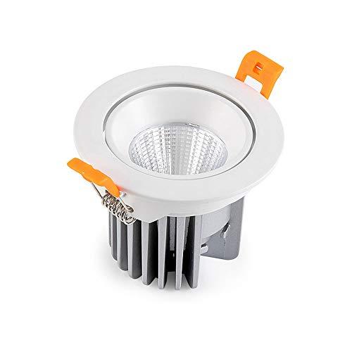 Qyyru Lámpara de techo empotrada blanca 5W, CRI 90 RA Sin downlights estroboscópicos Corte fácil de instalación φ75mm Foco de proyector Ronda para sala de estar Dormitorio Dormitorio Durante la luz de