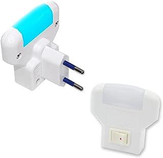 FISHTEC Veilleuse Douce à LED Bleu - Lampe Nuit - Lot de 2 - Veilleuse Enfant Chambre Couloir - Prise Secteur - Bouton on/...