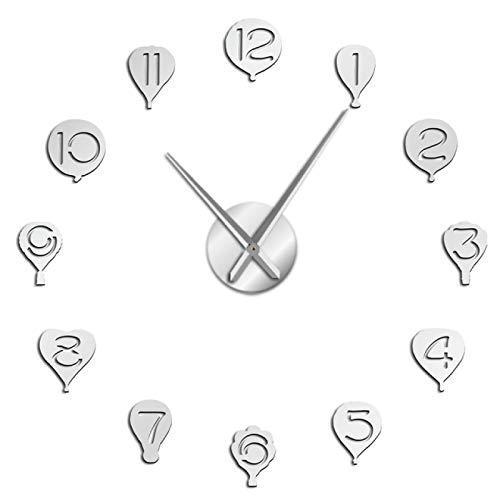 Reloj de pared Globo de aire caliente con números árabes Pegatinas de arte de pared Reloj de pared gigante de bricolaje Decoración del hogar de guardería Sin marco Reloj de pared de barrido silencioso