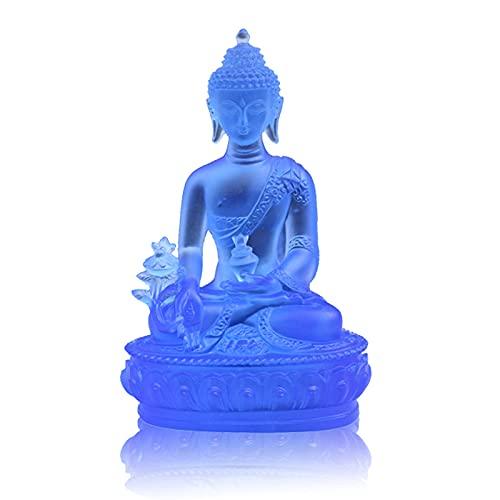 Medicin Buddha Staty Skulptur Samlarobjekt Staty Meditation Decor Andliga Statyetter för hemmakontor Yoga Zen Decor, Hindu och East Asian Decor,Blue