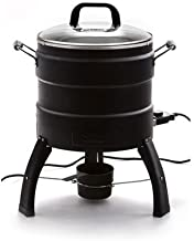 Double-Wall Construction Electric Oil-Free Turkey Fryer, Removable Drip Pan, Black