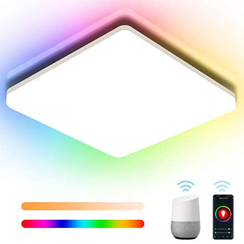 Oeegoo Bluetooth LED Deckenleuchte RGB 18W, 1800LM (100LM/W) Smart LED Deckenlampe WIFI, IP54 LED Lampe Dimmbar als Schlafzimmerlampe, Alexa/Google Kompatibel und APP/Sprachsteuerung, 28 * 28 * 4.8CM