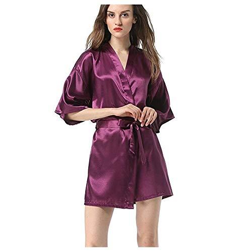 Bruidsmeisje Pyjama's, Women's Faux Silk Robe badtoga Hot Koop Kimono Yukata Badjas effen kleur nachtkleding S M L XL XXL (Color : Purple, Size : XL)