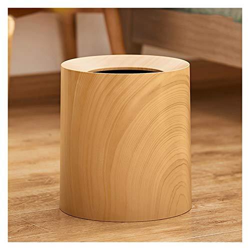 Bote de basura Basura de grano de madera for el hogar puede ser simple y creativa de basura de plástico moderno de lujo de lujo de lujo en bote de basura en dormitorio y sala de estar contenedor de ba