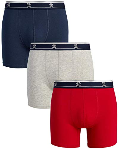 IZOD Men's Stretch Boxer Briefs Underwear, 3-Pack, Size Medium, Chili Pepper/Heather Grey/Dress Blues
