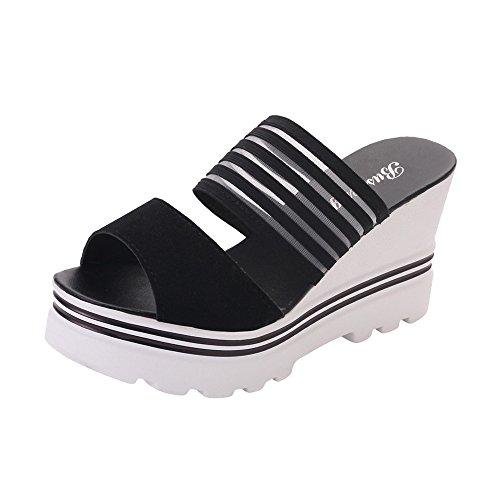 Sencillo Vida Chanclas de Cuña Mujeres Verano 2019, Sandalias de Mujer Plataforma Sandalias con Cuentas de Bohemia Zapatillas Zapatos de Playa Tacon Grueso
