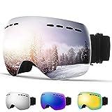 XIMU Gafas de Esquí, Gafas Esqui Snowboard Nieve Espejo para Hombre Mujer Gafas de Snowboard Sin Marco magnético 100% UV400 Protección Doble Capa Lente Correa Antideslizante Casco (Plata)