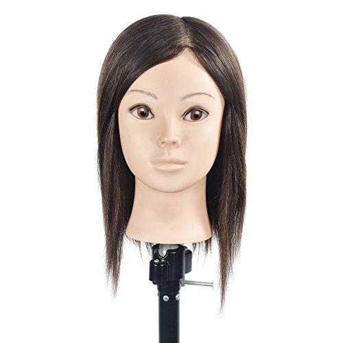 Professionele Mannequin Kappers Training Hoofden 100% Menselijk Haar Vrouwelijke Natuurlijke Bruin Haar Mannequin Pop Hoofden met Gratis Tafelklem