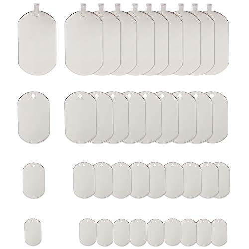 Fun-Weevz 40 PCS 316 Stainless Steel Dog Tag Pendants, 4 Sizes Shield Shape Stamping Blanks, Blank Metal Pendants for Jewelry Making, Army Dog Tags for Military ID Necklaces (1)