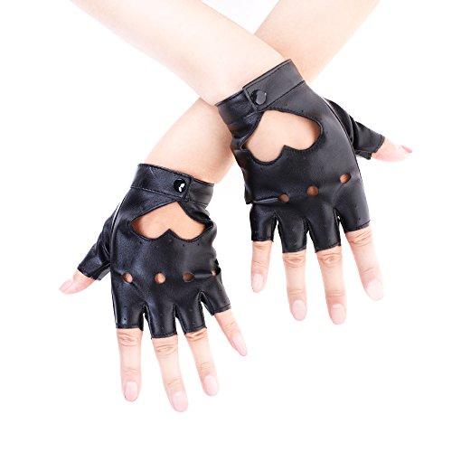 JISEN - Guantes de piel sintética para mujer, diseño de corazón - Negro - talla única