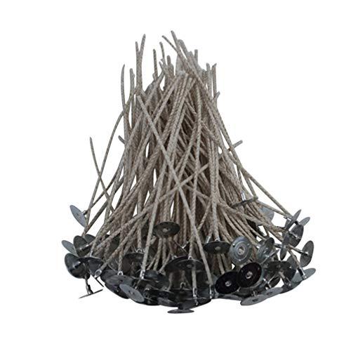 Healifty 100 Piezas de Mechas de Velas Mecha de Vela de Parafina Universal con Base de Artesanía de Bricolaje para Hacer Velas
