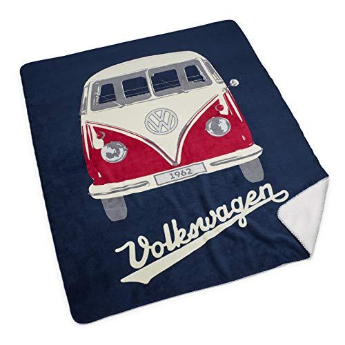 Volkswagen 7E9084503 Kuscheldecke mit T1 Bulli Motiv, Microfleece, Dunkelblau, Flauschige Wohndecke/Reisedecke 150x130 cm, Mikrofleece, Creme, 150 x 130 cm
