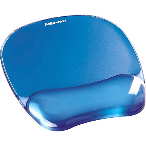 Fellowes Gel Crystals - Alfombrilla de ratón con reposamuñecas ergonómico, Color Azul