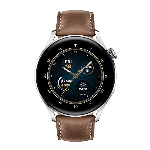 HUAWEI Watch 3 | GPS-Smartwatch mit Sp02 und Gesundheitsüberwachung für den ganzen Tag | 14 Tage Akkulaufzeit – braunes Lederband