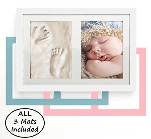 NEWBORN BABY HANDPRINT AND FOOTPRINT KEEPSAKE PHOTO FRAME KIT! Girl, Boy and White Photo Mats ALL INCLUDED! Perfect for Baby Shower Gifts! 5 x 7 Photo for Wall or Desk! Clay Impression Kit