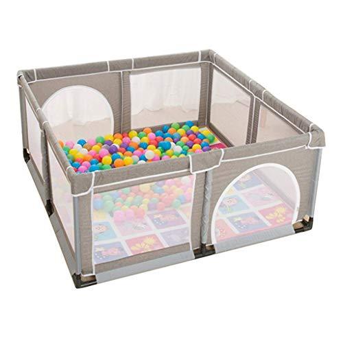 Kinderlaufstall Kids Protective Activity Center Spielplatz Zelte Babyspielplatz Spielhaus Robustes, atmungsaktives Indoor-Spieltor mit 100 Ozeanbällen und Kriechmatte (grau)