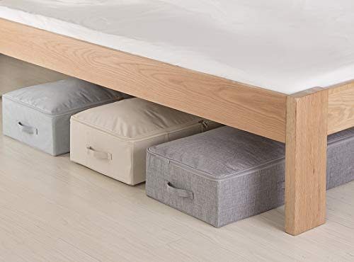 iwill CREATE PRO Under Bed Storage Container, Underbed Shoe Storage Organizer Box with Lid, Blankets, Cloth Storage Bins. Dark Gray