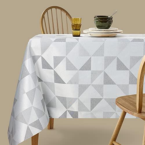 Viste tu hogar Mantel Jacquard Resinado, 140x200 CM, Impermeable y Resistente, para Decoración de Mesa, Ideal en Fechas Especiales, Patrón Geométrico, Gris
