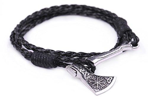 Men Valknut Axe Wrap Bracelet Helm of Awe Valknut Amulet Norse Viking Bracelet (Style 3)