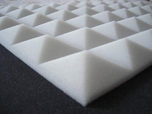 50 pannelli pannello fonoassorbente insonorizzazione acustico piramidale 49x49x 4 cm densita 30 (bianco)