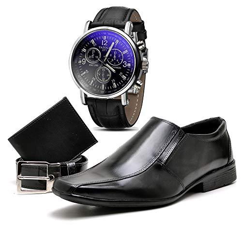 Kit Sapato Social Com Relógio Cinto Carteira Verniz Masculino Top Flex R800DB Tamanho:42;cor:Preto;gênero:Masculino