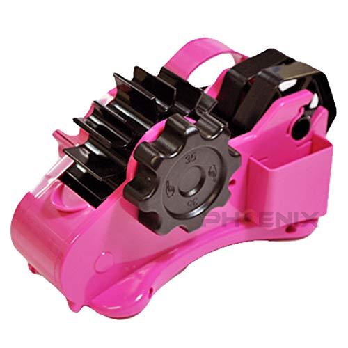 テープカッター テープディスペンサー 35mm裁断 セロハンテープ セロテープ 便利 半自動 手回しテープカッター 簡単 安全 工作 梱包 ラッピング 子供 園児 半自動テープカッター,ピンク